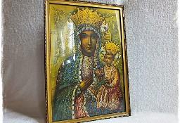Stary Obraz Matki Boskiej z dzieciątkiem w złoconej ramie
