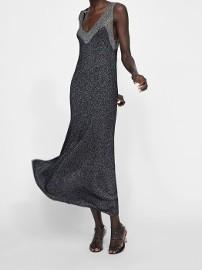 (38) ZARA/ Długa, srebrna, rozkloszowana sukienka wieczorowa z Madrytu/ jak NOWA