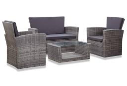 vidaXL 4-cz. zestaw wypoczynkowy do ogrodu, poduszki, rattan PE, szary 46086