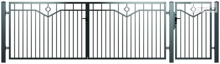 Brama dwuskrzydłowowa1,5x4m + furtka 1x1,5m E-01 oc+kolor