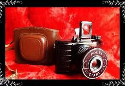 Kolekcjonerski rzadki stary aparat lustrzanka Pouva + Oryg. Film! + futerał
