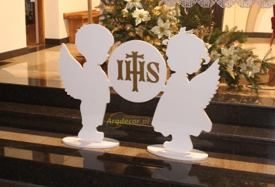 Dwa Duże Anioły + Hostia - Pierwsza komunia, ozdoby styropianowe, dekoracje