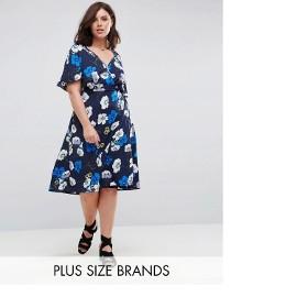 Nowa sukienka na lato 4XL 48 granatowa w kwiaty midi wrap dr
