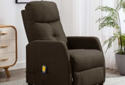 vidaXL Rozkładany fotel masujący, brązowy, tapicerowany tkaniną289830