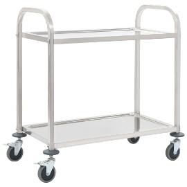 vidaXL 2-poziomowy wózek kelnerski, 107x55x90 cm, stal nierdzewna 50912