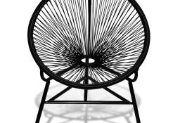 vidaXL Okrągłe krzesło ogrodowe, polirattan, czarne 41383